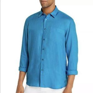 Vilebrequin Bright Blue Mens Linen Shirt Sz Large